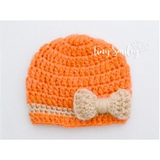 Orange Baby Girl Bow Hat