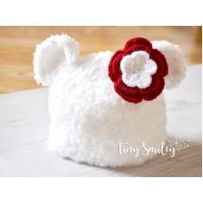 Baby white bear hat, Crochet Teddy Bear hat, Newborn bear outfit