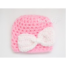Pink bow crochet baby girl beanie take home outfit
