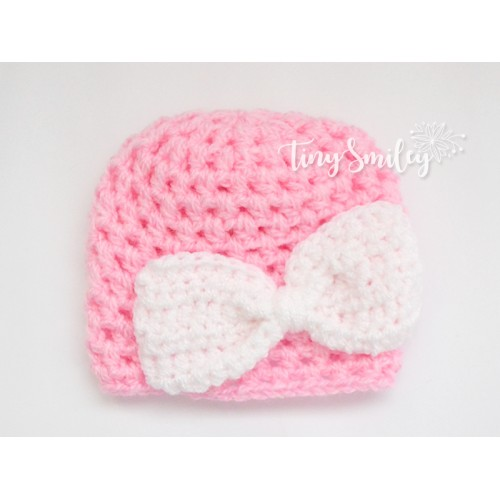 24028451ef3 Bow Baby Beanie Going Home Outfit Pink Baby Hat