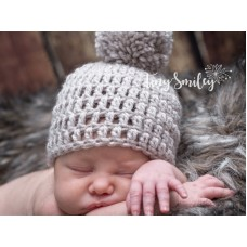 Beige Crochet Baby Boy Hat