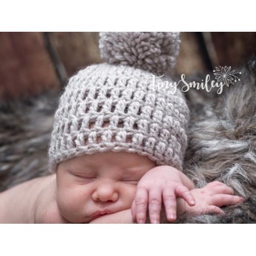 Beige Crochet Baby Boy Hat