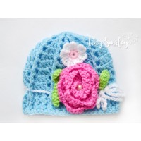 Blue flower baby girl hat, Newborn girl hat, Crochet baby girl beanie outfit
