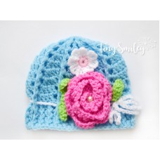 Blue Crochet Flower Baby Hat Going Home Outfit