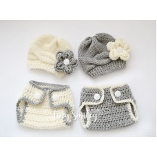 Twin Hats and Diaper Covers Set
