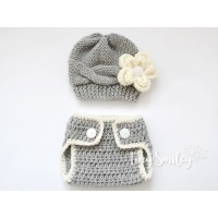 Newborn baby set, Crochet outfit hat and diaper cover, Baby girl outfit