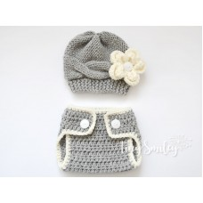 Newborn Baby Set Hat and Diaper Cover