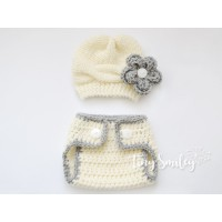 Set baby girl outfit, Knit baby girl hat and diaper cover set, Hat and diaper cover set cream