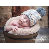 Pompom crochet boy hat, Wool newborn pom pom hat, Baby beige hat