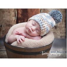 Pompom Baby Boy Hat Beige Hat