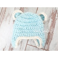 Chunky baby bear hat, Crochet bear hats, Blue baby bear hat, Tinysmiley