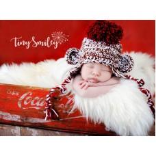 Pompom Monkey Baby Hat