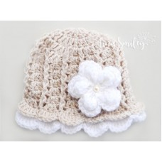 Beige Baby Girl Lace Hat Newborn Outfit