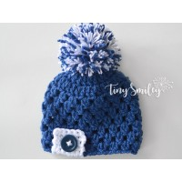 Pompom blue boy hat, Old navy newborn baby hat, Take home outfit crochet