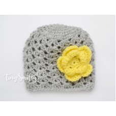 Crochet Baby Girl Hat Gray Beanie