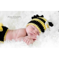 Crochet baby set Bumblebee, Newborn set hat and diaper cover, Baby clothes
