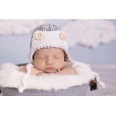 Earflap baby pilot crochet hat, Newborn aviator hat, Winter  aviator baby hat