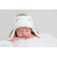 Crochet aviator hat, Beige newborn aviator hat, Hats baby boy, Tinysmiley