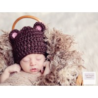 Wool baby bear hat