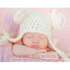 Teddy Bear ear flap hat, Cream Teddy Bear hat newborn, Bear baby hats ear flap