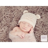 Newborn bear ears baby hat, Cream crochet bear baby hat, Wool bear baby hats