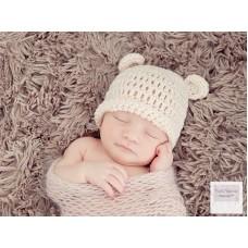 Newborn bear ears wool hat, Cream crochet baby bear hat