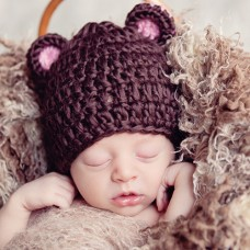 Baby Hat with Ears Brown Bear Hat Newborn Hat