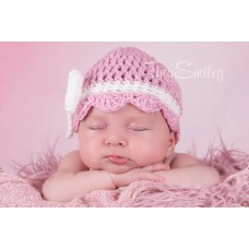 Newborn girl bow hat pink, Bow girl beanie, Newborn white bow hat