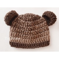 Brown baby bear hat, Newborn bear hat, Bear crochet hat, Baby hat bears, Bears ears hats, Baby bear beanies, Newborn hats crochet
