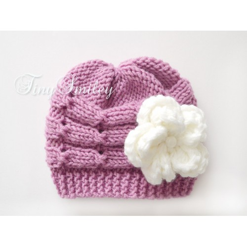 50580ca6082 Cable Newborn Hat Knit Baby Girl Hat