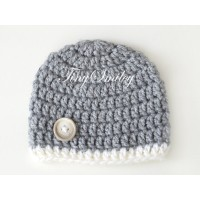 Crochet winter baby boy hat, Hat for boy gray, Wool newborn beanie