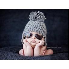 Baby Pom Pom Gray Earflap Hat