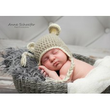 Newborn earflap bear hat, Animal crochet baby bear hat with braided ties